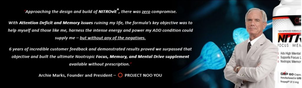 Archie marks the creator of Nitrovit, explaining his truggles with ADHD