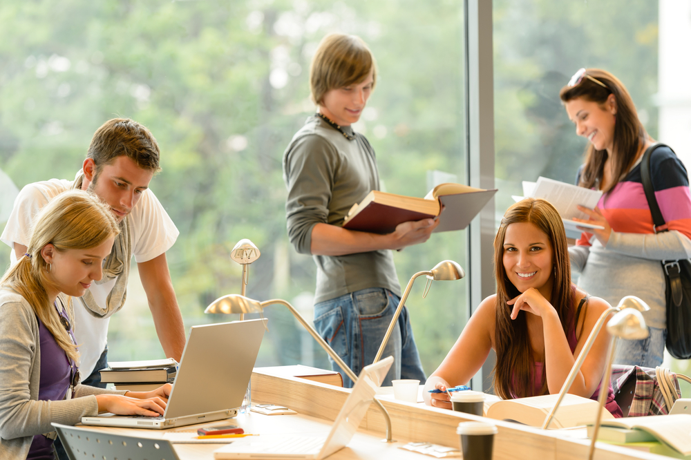 Students learning in a library